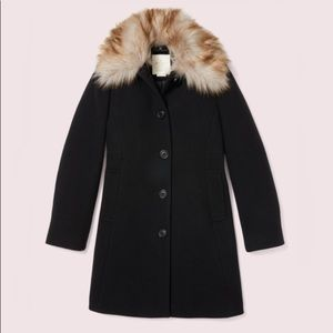 Kate Spade Out West Bow Back Fur Collar Coat Black